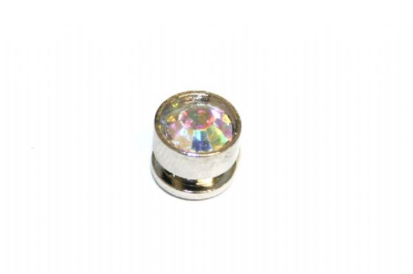 10pcs x 7mm*6mm Round metal bead with clear AB rhinestone -- 1 hole -- S.A -- WC214 -- 5000010